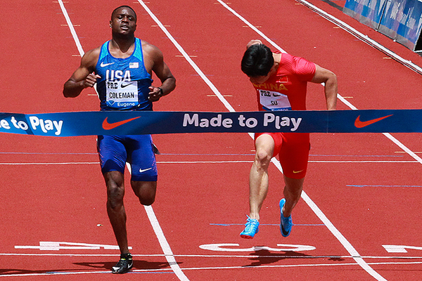 Christian Coleman and Su Bingtian in action in the 100m (Victah Sailer)