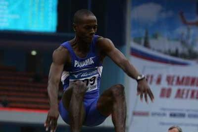 Irving Saladino of Panama on his way to winning the silver medal in the men's Long Jump final (Getty Images)