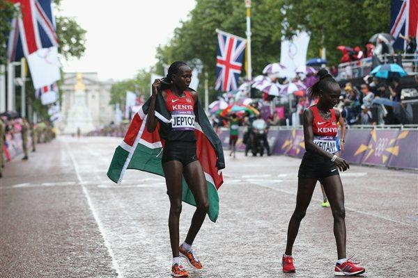 (L-R) Silver medalist Priscah Jeptoo of Kenya and fourth place Mary Jepkosgei Keitany of Kenya after competing in the Women's Marathon on Day 9 of the London 2012 Olympic Games on August 5, 2012 (Getty Images)