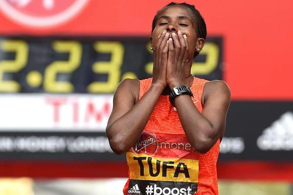 Tigist Tufa after winning the 2015 London Marathon (Getty Images)