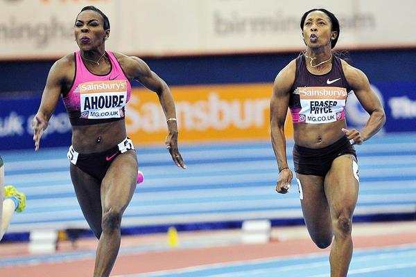 Murielle Ahoure and Shelly-Ann Fraser-Pryce at the Indoor Grand Prix in Birmingham (AFP / Getty Images)