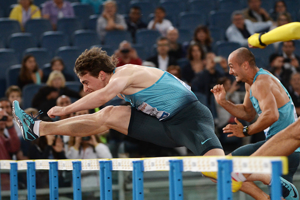 Sergey Shubenkov on his way to winning the 110m hurdles (AFP / Getty Images)