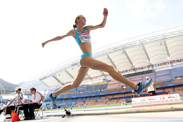 Olga Rypakova in the triple jump at the IAAF World Championships (Getty Images)
