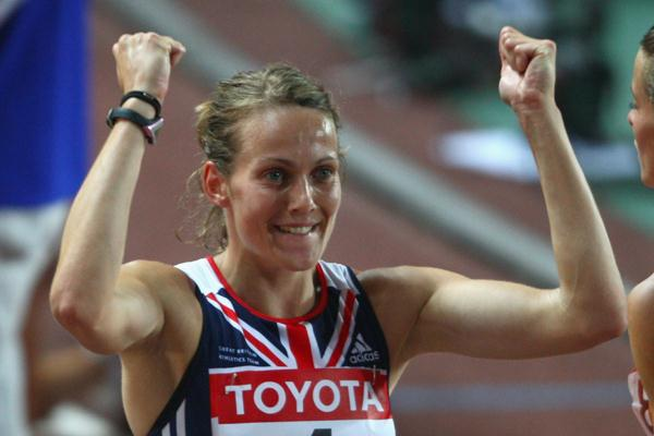 Kelly Sotherton of GBR celebrates her third place after the 800m of the Heptathlon (Getty Images)