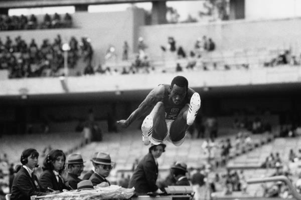 Bob Beamon flying to his 8.90m world record in Mexico City (Getty Images)