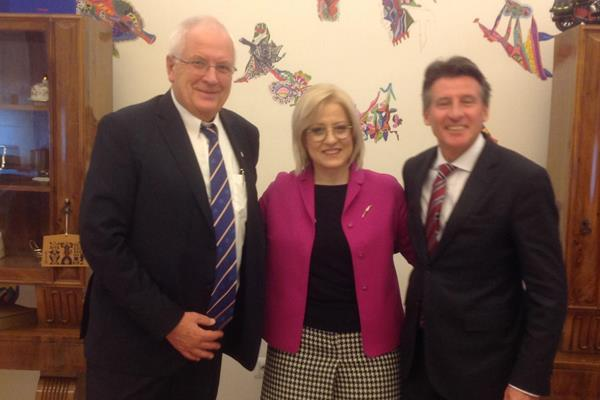 European Athletics President Svein-Arne Hansen, Albania's Minister of Education and Sports Lindita Nikolla and IAAF President Sebastian Coe (IAAF)