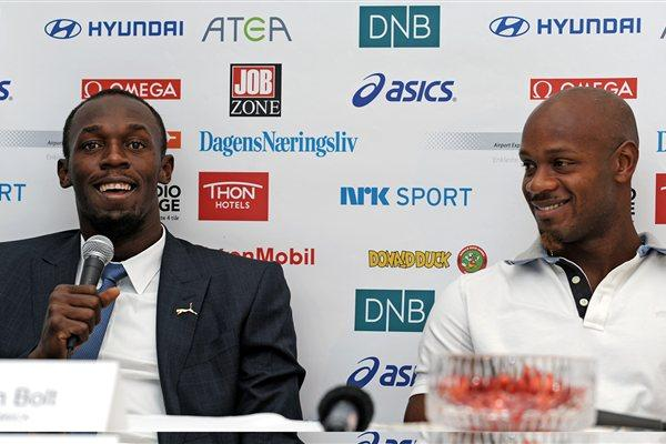 Usain Bolt and Asfa Powell at Bislett's Strawberry Party (Mark Shearman)