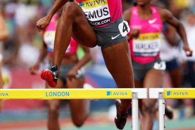 Lashinda Demus brings home an emphatic 400m Hurdles victory in London (Getty Images)