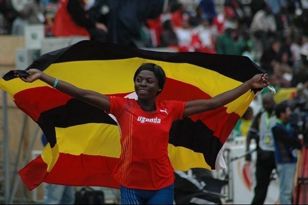 Sarah Nambawa celebrates her African Triple Jump title (Sande Bashaija)