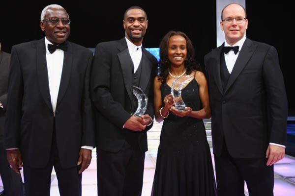 World Athletes of the Year Tyson Gay with IAAF Presiden Lamine Diack and Prince Albert II of Monaco (Getty Images)