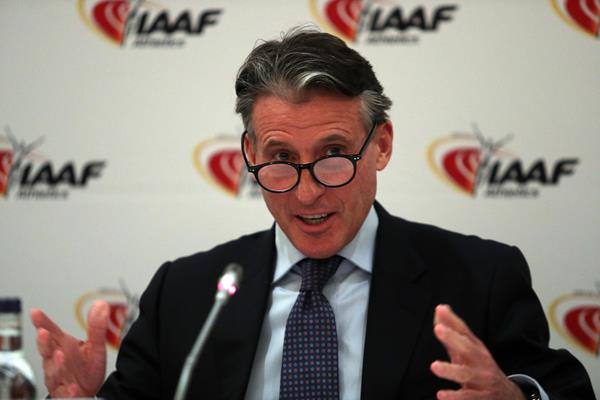 IAAF President Sebastian Coe speaking at a press conference after the IAAF Council Meeting in London (Chris Lee)