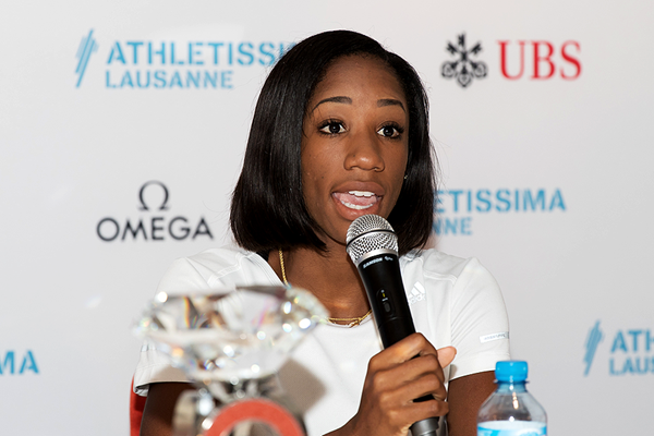 Kendra Harrison at the press conference for the IAAF Diamond League meeting in Lausanne (Daniel Mitchell)