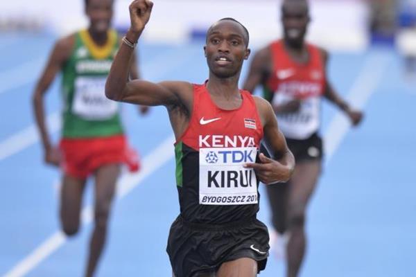 Amos Kirui wins the 3000m steeplechase at the IAAF World U20 Championships Bydgoszcz 2016 (Getty Images)