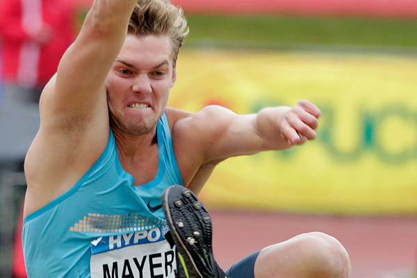 Kevin Mayer in the decathlon long jump (AFP / Getty Images)