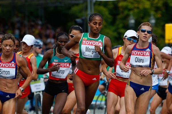 Aselefech Mergia of Ethiopia in the women's IAAF World Championships' Marathon in Berlin (Getty Images)