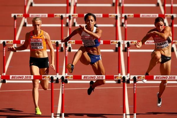 Katarina Johnson-Thompson in the heptathlon 100m hurdles at the IAAF World Championships, Beijing 2015 (Getty Images)