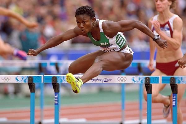 Glory Alozie in the 100m hurdles at the Sydney 2000 Olympic Games (Getty Images)