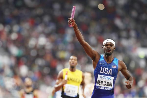 Rai Benjamin brings it home for the US men's 4x400m relay squad at the IAAF World Athletics Championships Doha 2019 (Getty Images)
