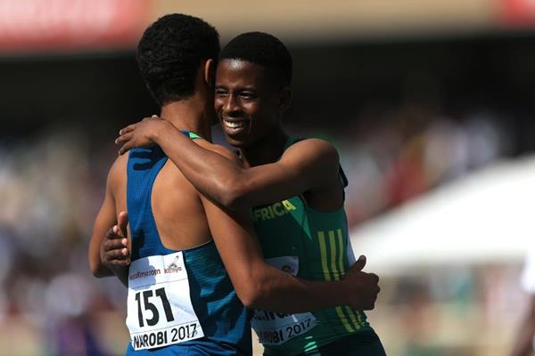 Retshidisitswe Mlenga after winning the boys' 200m at the IAAF World U18 Championships Nairobi 2017 (Getty Images)