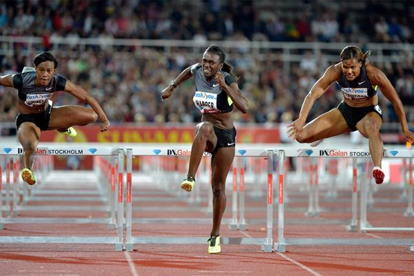 Dawn Harper on her way to winning the 100m hurdles in Stockholm (Deca Text & Bild)