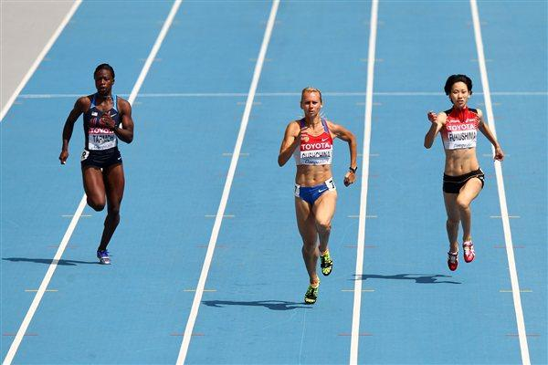 Yulia Gushchina of Russia in the opening round of the women's 200m (Getty Images)
