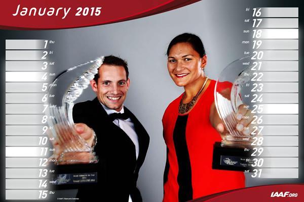2015 IAAF desk calendar - January (Renaud Lavillenie & Valerie Adams) (Getty Images)