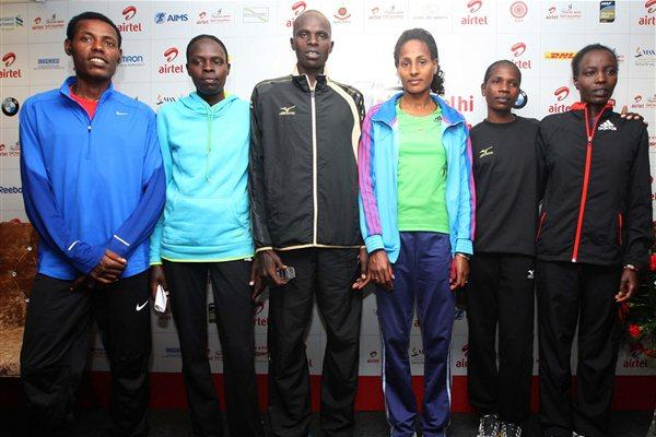 Ahead of the 2012 Delhi Half Marathon, from left: Lelisa Desisa, Helah Kiprop, Ezekiel Chebii, Aselefech Mergia, Helalia Johannes and Caroline Kilel (Organisers)