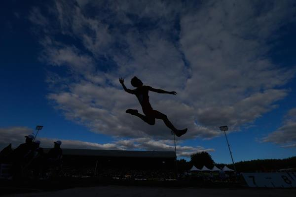 Wang Jianan in the long jump at the IAAF World Junior Championships, Oregon 2014 (Getty Images)