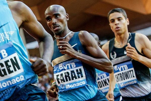 Mo Farah in the 1500m at the Monaco Diamond League (Philippe Fitte)