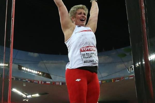 Anita Wlodarczyk celebrates her winning hammer thow at the IAAF World Championships, Beijing 2015 (Getty Images)