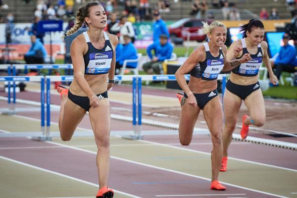 Nadine Visser wins the 100m hurdles at the World Athletics Continental Tour meeting in Turku (Ville Vairinen)