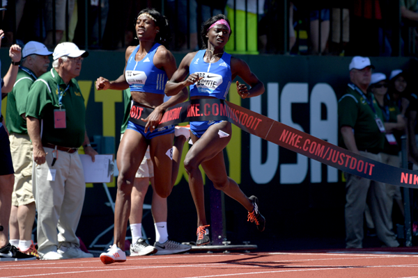 Torie Bowie wins the 200m at the IAAF Diamond League meeting in Eugene (Kirby Lee)