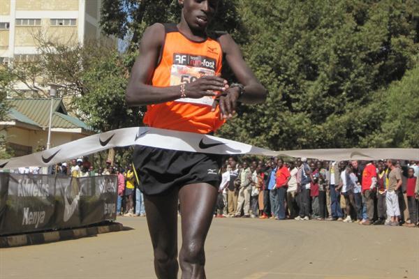 Edwin Kipyego after winning the 21st Discovery Half Marathon in Eldoret, Kenya (David Macharia)
