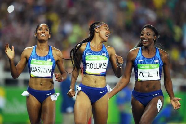 Kristi Castlin, Brianna Rollins and Nia Ali after sweeping the medals in the 100m hurdles at the Rio 2016 Olympic Games (Getty Images)