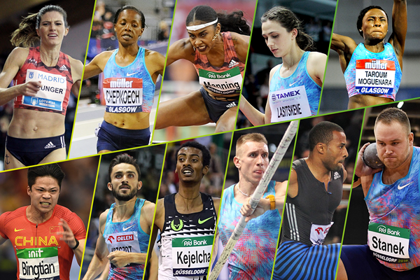 The 11 individual winners of the 2018 IAAF World Indoor Tour (Mark Shearman, Gladys Chai, Jean-Pierre Durand, Jiro Mochizuki)
