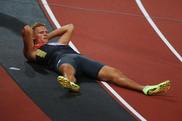 Pascal Behrenbruch of Germany lays on the ground after competing in the men's Decathlon 400m at the London 2012 Olympics (Getty Images)