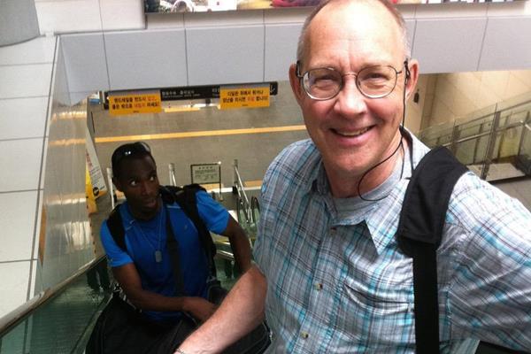 Jon Hendershott arriving in Daegu (Sieg Lindstrom)