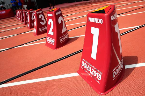 Lane markers in Khalifa International Stadium, venue of the IAAF World Athletics Championships Doha 2019 (Getty Images)
