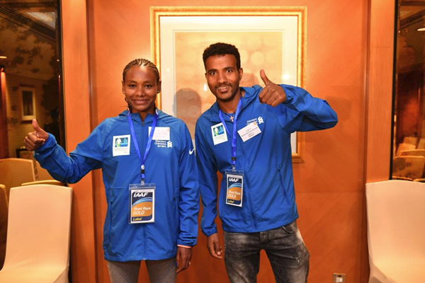 Defending champions Gulume Tollesa and Melaku Belachew ahead of the Hong Kong Marathon (Organisers)