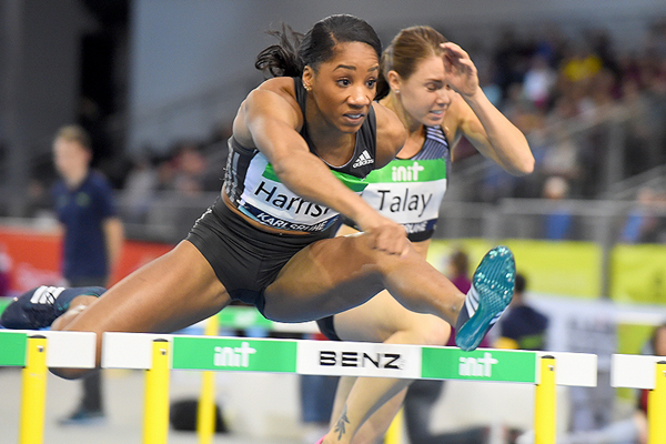 Kendra Harrison in the 60m hurdles at the IAAF World Indoor Tour meeting in Karlsruhe (Jiro Mochizuki)