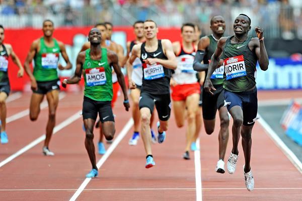 Emmanuel Korir en route to his stunning 1:42.05 victory in London (Mark Shearman)