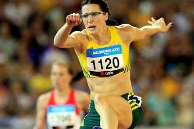 Jana Pittman, a vision of concentration in the 400m Hurdles Final - Melbourne (Getty Images)