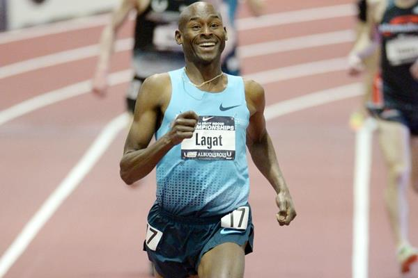Bernard Lagat on his way to another US indoor 3000m title (Kirby Lee)