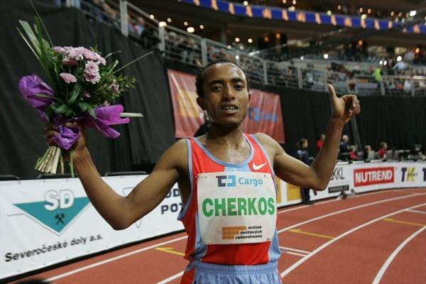 Abreham Cherkos after his world-leading 5000m run in Prague (Pavel Lebeda/Ceska Sportovni)