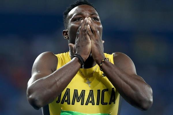 Omar McLeod after winning the 110m hurdles at the Rio 2016 Olympic Games (Getty Images)