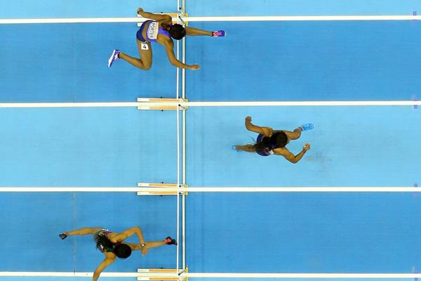 Sharika Nelvis pulls away to win the 60m hurdles (Getty Images)
