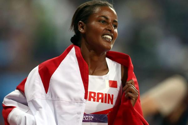 Maryam Yusuf Jamal celebrates taking the bronze medal in the 1500m at the London 2012 Olympics (Getty Images)