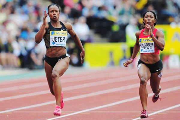Carmelita Jeter and Shelly-Ann Fraser-Pryce in action at the IAAF Diamond League meeting in London (Getty Images)