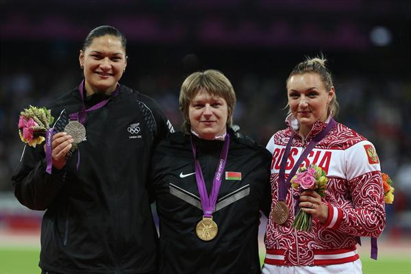 Silver medalist Valerie Adams of New Zealand, gold medalist Nadzeya Ostapchuk of Belarus and bronze medalist Evgeniia Kolodko of Russia pose on the podium during the medal ceremony for the Women's Shot Put final on Day 10 of the London 2012 Olympic Games at the Olympic Stadium on August 6, 2012 (Getty Images)