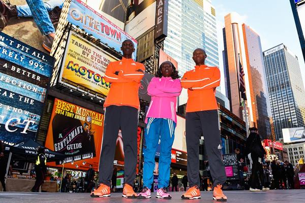 Wilson Kipsang, Mary Keitany and Geoffrey Mutai before the 2014 New York City Marathon (Getty Images)